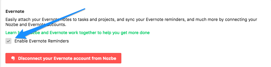 Turn off Evernote Reminders integration