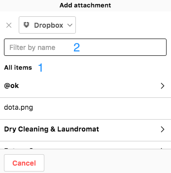 Project attachments -Dropbox